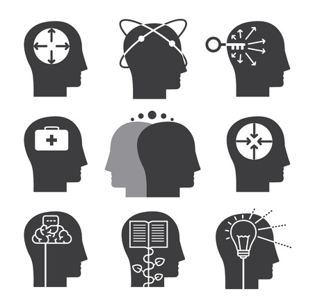 Human thinking icons, set of mental abilities