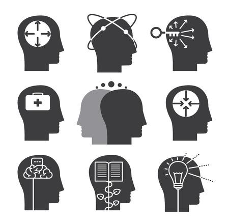 Menselijk denken iconen, set van geestelijke vermogens