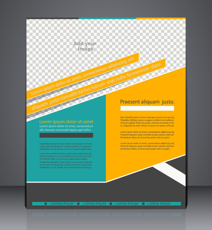 advert: Vector business brochure flyer design,  layout cover design  in green and yellow colors with insert for photo Illustration