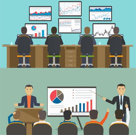Workstation met een groep van werknemers, web analytics informatie en de ontwikkeling website statistiek, Business concept workshop, training.