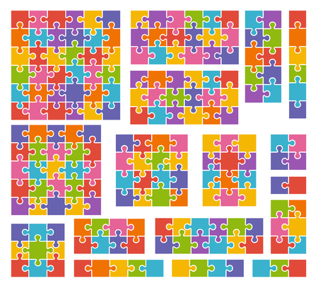 Parts of puzzles on white background in colored colors. Set of puzzle 2, 3, 4, 5, 6, 8, 9, 10, 12, 13, 16, 18, 25, 36 pieces Ilustração