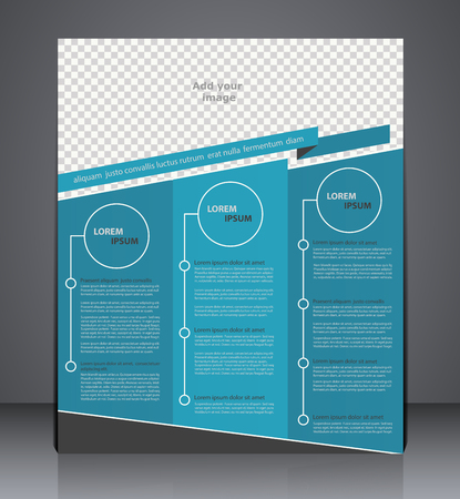 advert: Vector business brochure flyer design,  layout cover design  in blue  colors with insert for photo