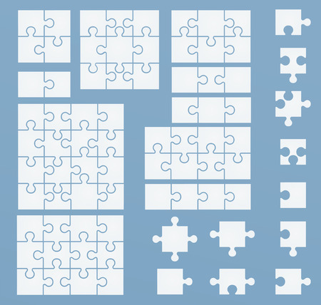jigsaw puzzle pieces: Parts of puzzles on blue template. Set of puzzle 2, 3, 4, 6, 8, 9, 12, 16 pieces