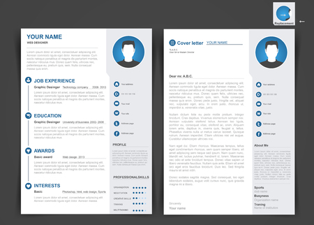 Professional cv, resume template of two pages. A4 size