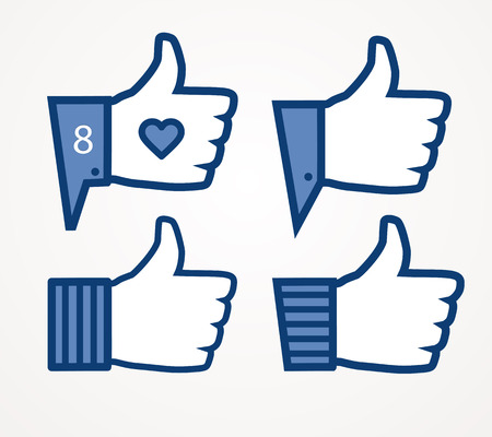 like button: Thumbs up, set of hands in different styles Illustration