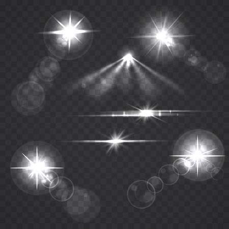 flare: Glowing light effect stars and flashes on transparent background. Transparent stars.
