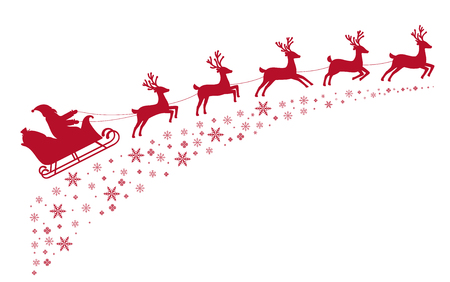 Santa sleigh reindeer flying on background of snow-covered stars. Vectores