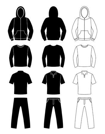 ropa casual: siluetas de ropa, sudadera con capucha, camiseta y pantalones de manga larga,