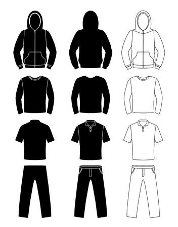 in  shirt: siluetas de ropa, sudadera con capucha, camiseta y pantalones de manga larga,