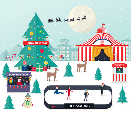 snow capped: Christmas winter background with with New Year tree  and amusement park. Illustration
