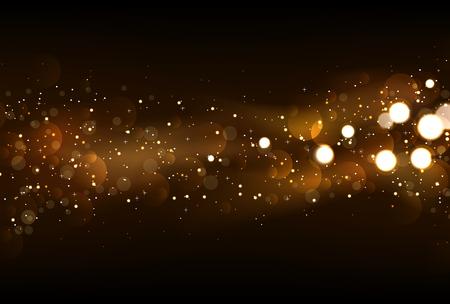 light trails: Defocused glitter lights background in dark gold and black colors. Illustration