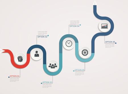 Timeline, infographics sjabloon met stapsgewijze bedrijfsstructuur Stock Illustratie