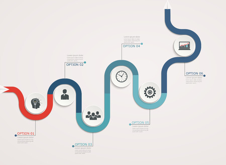elearn: Timeline, infographics template with stepwise business structure