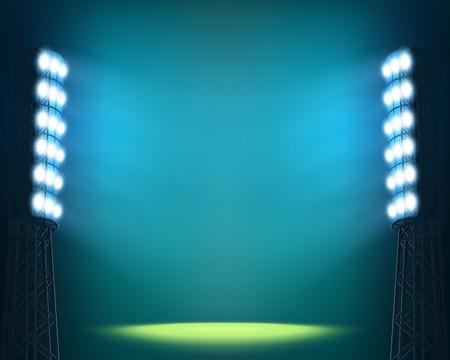 cancha de futbol: Luces del estadio contra el cielo oscuro Noche fondo Vectores