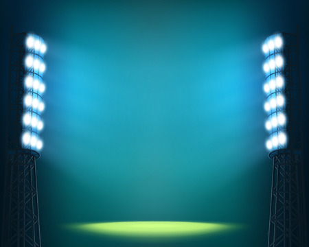 floodlit: Stadium lights against dark Night sky background
