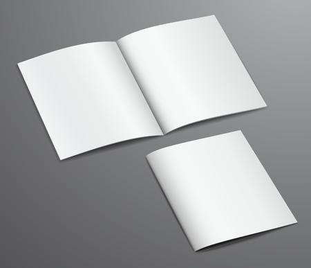 Lege witte gesloten en open brochure tijdschrift, die op een donkere achtergrond
