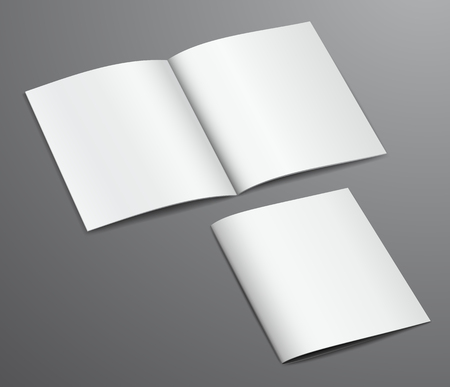 Blank white closed and open brochure magazine, isolated on dark background