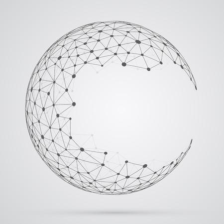 esfera: esfera de malla mundial. forma geométrica abstracta con el esférico fuera cortada caras triangulares.
