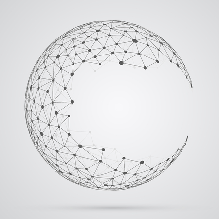 shape: Global mesh sphere. Abstract geometric shape with spherical severed off triangular faces.