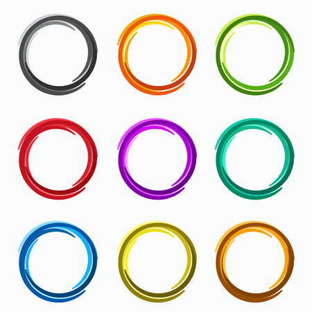 Color abstract circles. Loops  logo elements of template
