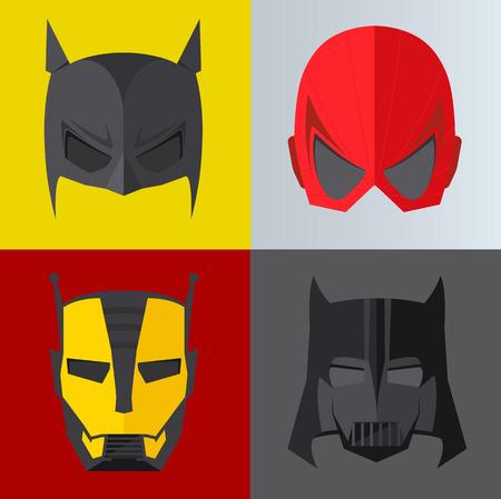 Superhero mask on colored backgrounds