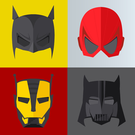 batman: Superhero mask on colored backgrounds