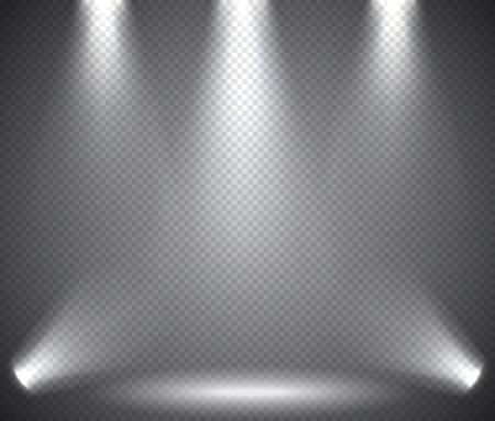 Scène verlichting van boven en onder, transparante effecten op een plaid donkere achtergrond. Heldere verlichting met schijnwerpers.