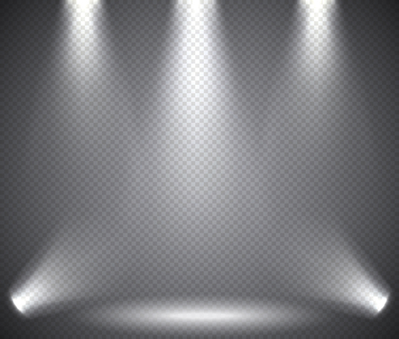 club scene: Scene illumination from above and below, transparent effects on a plaid dark  background. Bright lighting with spotlights.