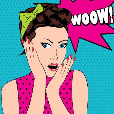 wow: Surprised woman in pop art style with Wow sign.