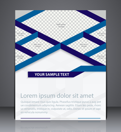 inserts: Vector business brochure flyer design. Layout design isometric cover in blue colors with inserts for photo