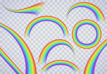 arco iris: Elementos del arco iris en el fondo transparente Vectores