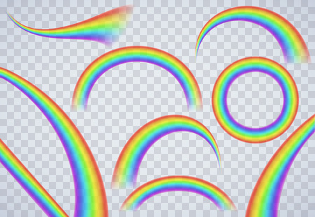 Rainbow elements on transparent background Illustration