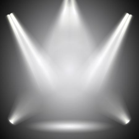 Scène verlichting. Achtergrond heldere verlichting met schijnwerpers. Vector Illustratie