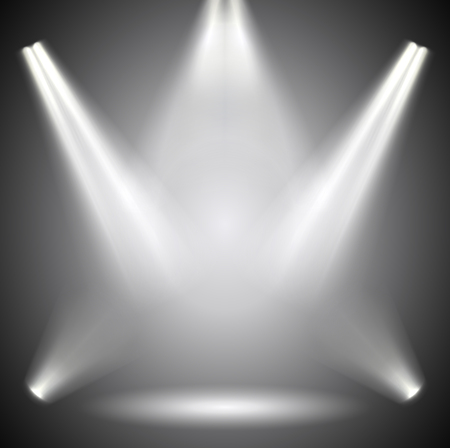Scene illumination. Background bright lighting with spotlights.