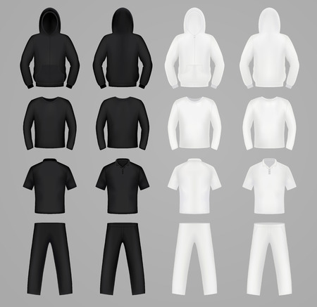 camisa: Siluetas ropa de colores blanco y negro, con capucha, camiseta y de manga larga, pantalones Vectores