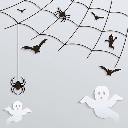 necropolis: Halloween Background. Spider web with flying ghosts and bats.