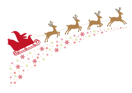 harness: Santa on a sleigh with reindeer in harness flies along snowy stars.