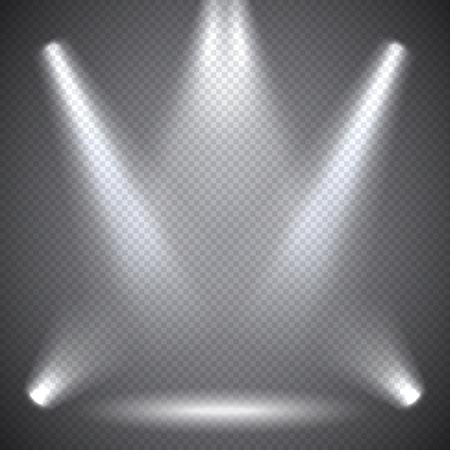 zábava: Osvětlení scény, transparentní účinky na kostkované tmavém pozadí. Jasné osvětlení s reflektory. Ilustrace