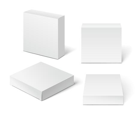 boite carton: Blanc Boîte en carton Package. Illustration isolé sur fond blanc.