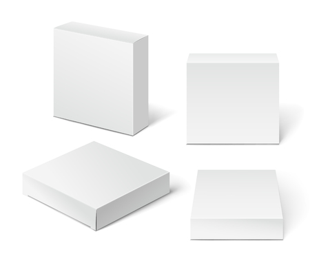 container box: White Cardboard Package Box. Illustration Isolated On White Background.