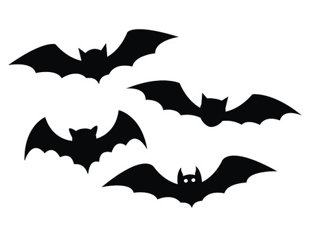 cartoon vampire: Black bats set on a white background