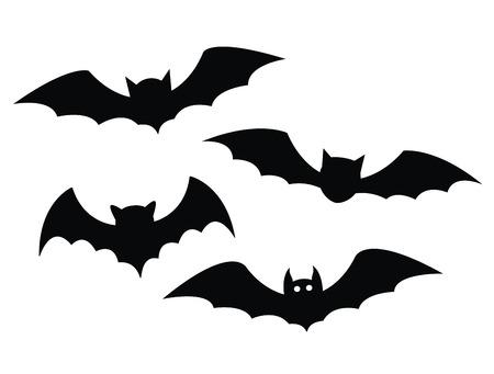 bate: Murciélagos negros fijados en un fondo blanco