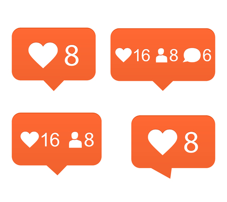 Likes, set of counter notification Illustration