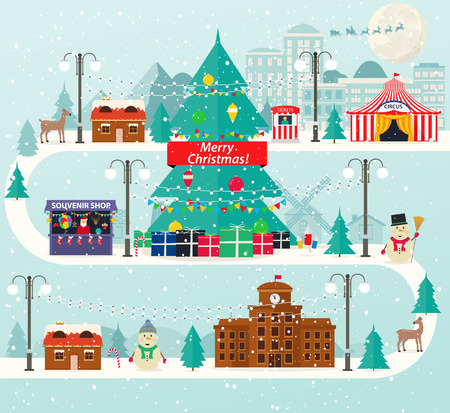 stalls: Christmas urban and rural landscape in flat design. City winter life with modern icons of urban and suburban buildings. New Year tree, amusement park, souvenir shop