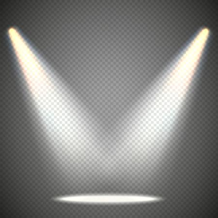 fiestas discoteca: iluminación de la escena de los efectos anteriores, transparentes sobre un fondo oscuro a cuadros. La iluminación brillante con focos. Vectores