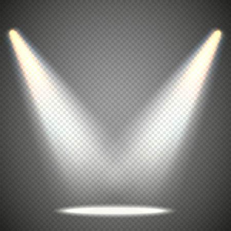spotlight: Scene illumination from above, transparent effects on a plaid dark  background. Bright lighting with spotlights.