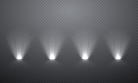 Scène verlichting van onderen, transparante effecten op een plaid donkere achtergrond. Heldere verlichting met schijnwerpers.