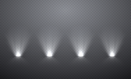 Scène verlichting van onderen, transparante effecten op een plaid donkere achtergrond. Heldere verlichting met schijnwerpers. Vector Illustratie
