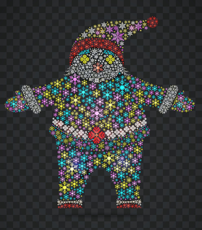 white bacjground: Santa Claus in the form of stars transparent. Colorful Christmas decorations.