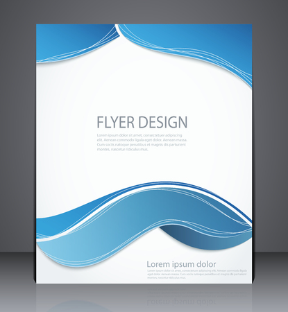 Vector layout brochure, flyer design template, web, or magazine cover design with squares in blue colors